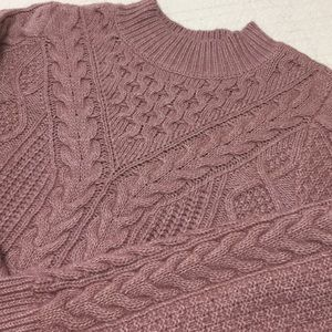 Abercrombie cable knit sweater in rose